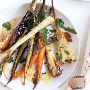Maple-sesame carrot and parsnip salad