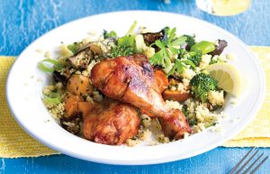 Marinated chicken with roasted vegetables and couscous