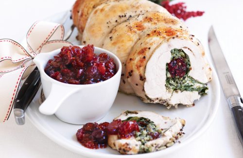 Turkey roulade with quinoa, cranberry and pumpkin seed stuffing