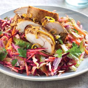 Zesty chicken on tahini slaw