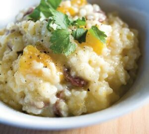 Risotto with pumpkin and bacon