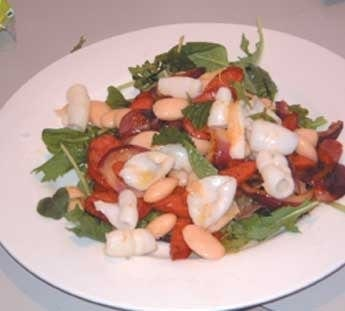 Rocket, white bean, squid and chorizo salad