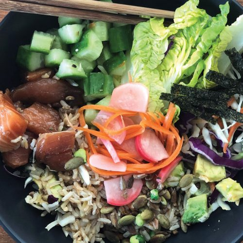 Salmon and vege poke bowl