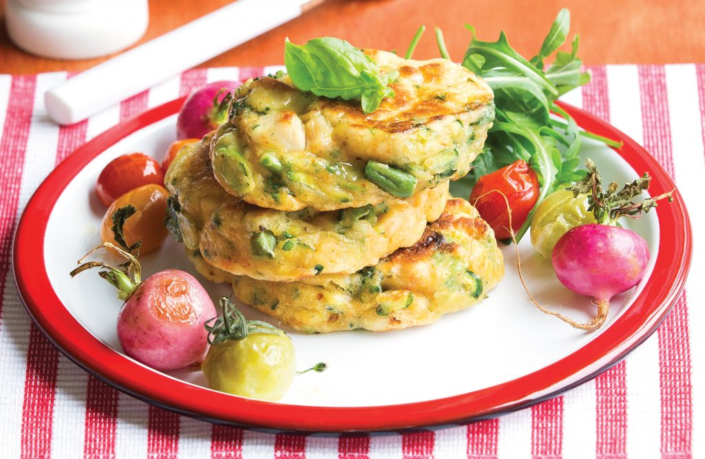 All green chicken fritters