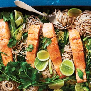 Asian salmon and super greens oven-steamed bake