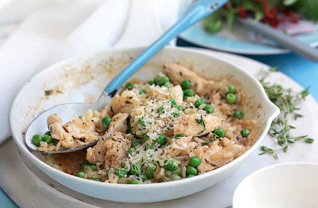 Baked chicken and pea risotto