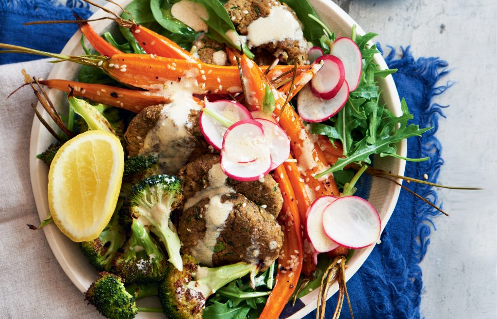 Baked falafel, roasted carrot and broccoli abundance bowl