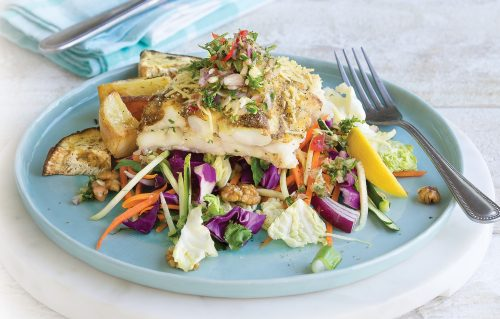 Baked fish with slaw and potatoes