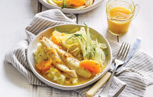 Baked fish with citrus-fennel sauce and parsnip mash