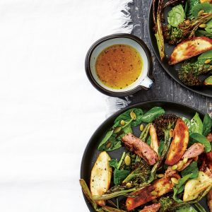 Barbecued kumara salad with miso-grilled lamb