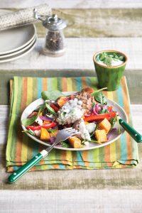 Barbecued lamb, kumara and caramelised red onion salad