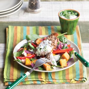 Barbecued lamb, kumara and caramelised red onion salad