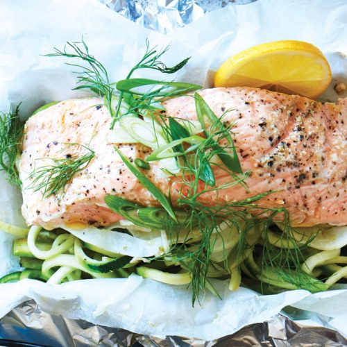 Barbecued salmon and veg parcels