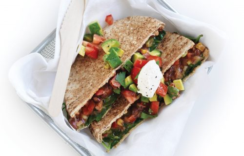 Bean quesadilla with tomato salsa