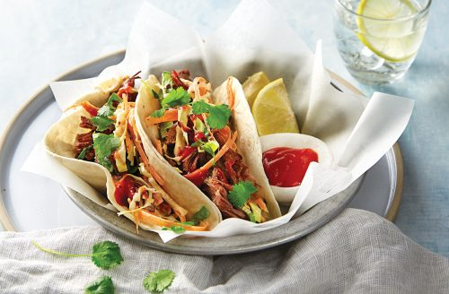 Beef and kimchi tacos