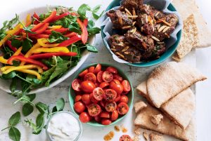 Beef kofta with Mediterranean salad