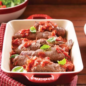 Beef olives in tomato sauce