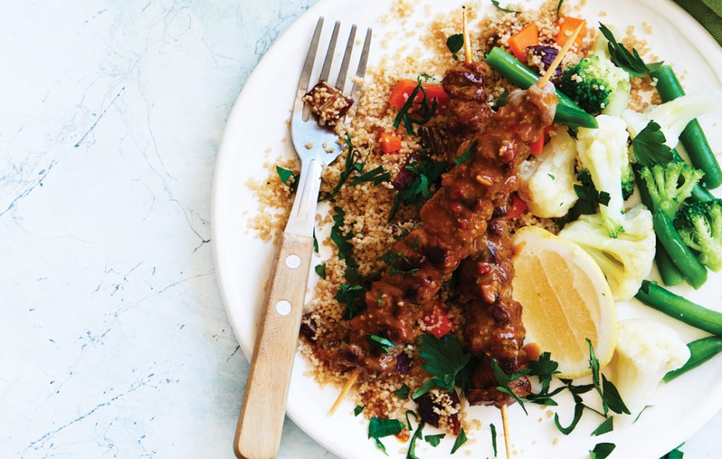 Beef satay skewers with date and parsley couscous