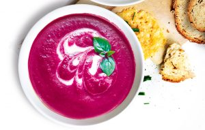 Beetroot, apple and ginger soup