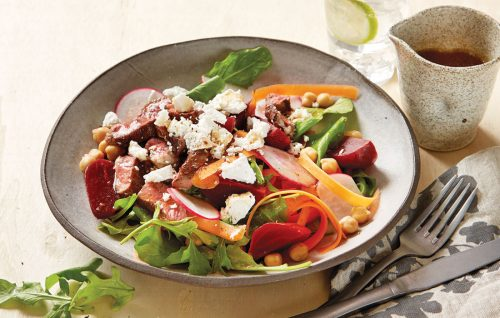 Beetroot, chickpea, feta and lamb salad with tamarind dressing