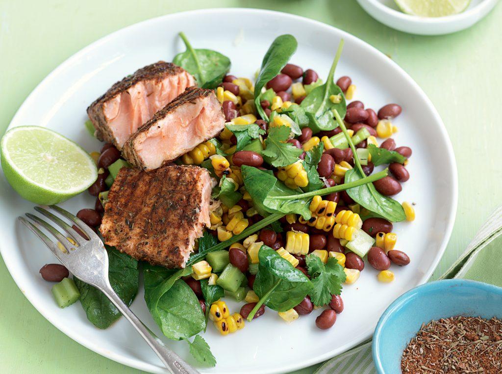 Blackened salmon with sweet corn and bean salad