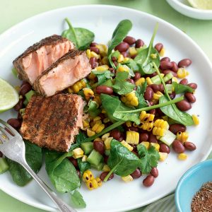 Blackened salmon with sweet corn and bean salad