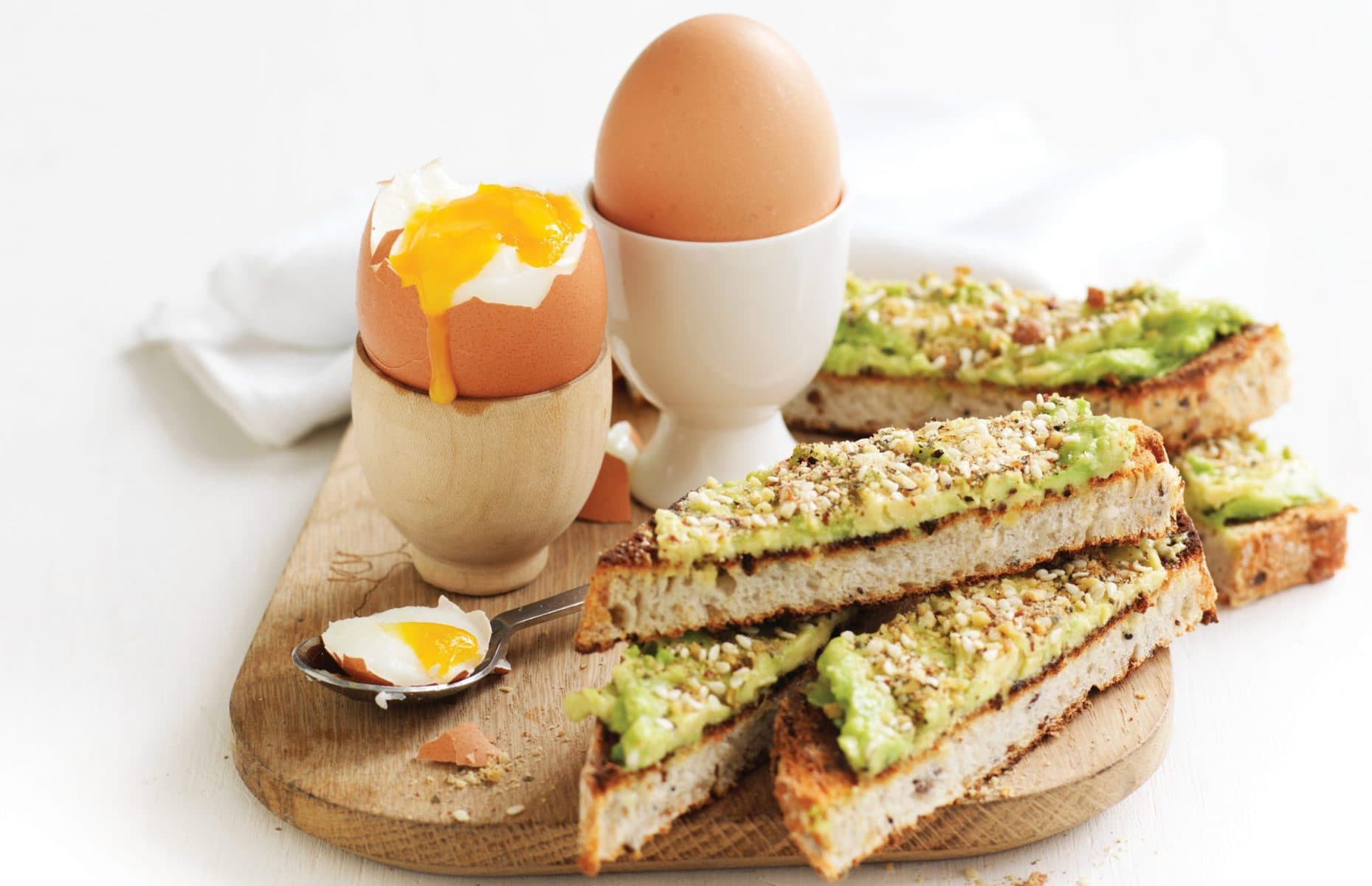 Boiled eggs with dukkah soldiers