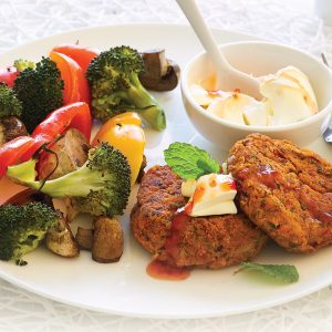 Boss burgers and baked veges