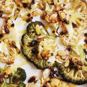 Broccoli and cauliflower steaks with fried capers
