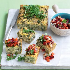 Broccoli and courgette frittata with roasted capsicum relish