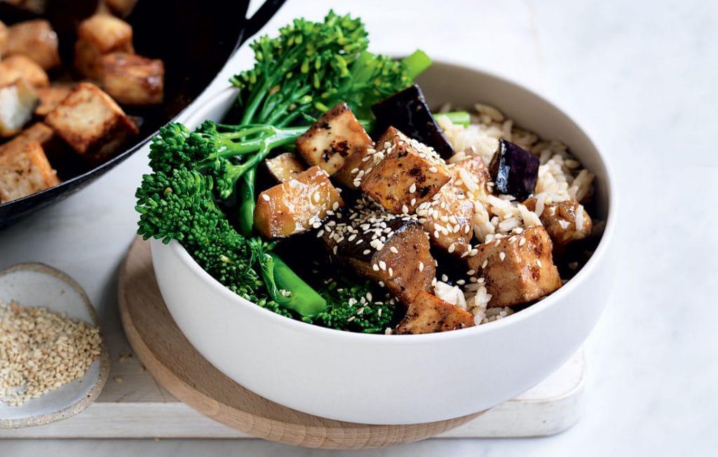 Caramelised miso eggplant and tofu stir-fry