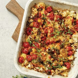 Cauliflower bake with cheesy topping