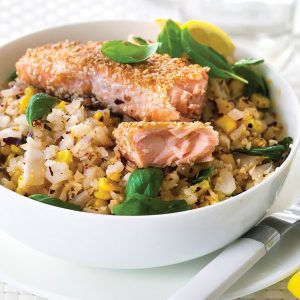 Cauliflower couscous with corn and sesame salmon