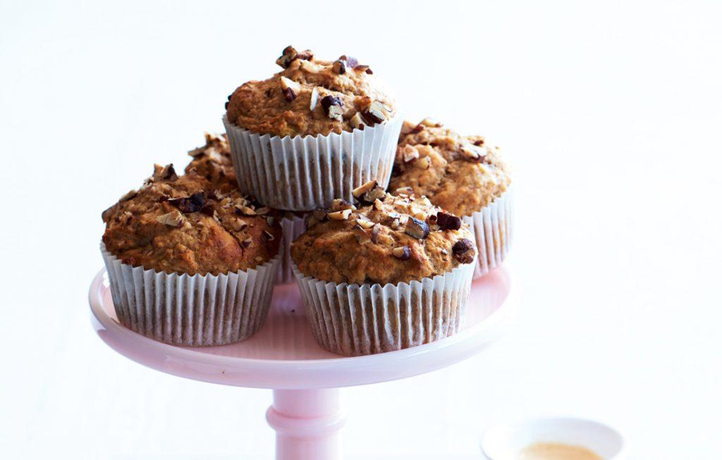 Chia banana pecan muffins