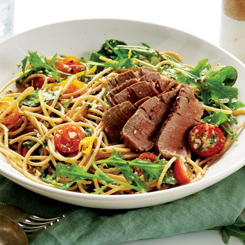 Chargrilled beef with almond pesto