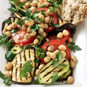 Chargrilled eggplant, courgette and tomato salad