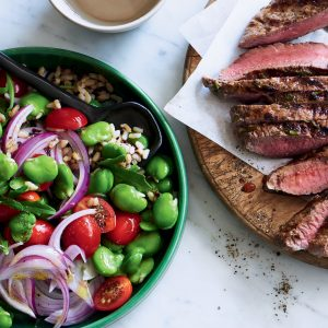 Chargrilled lamb with warm broad bean salad