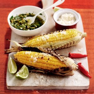 Charred corn with chunky coriander salsa