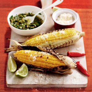 Charred corn with chunky coriander salsa