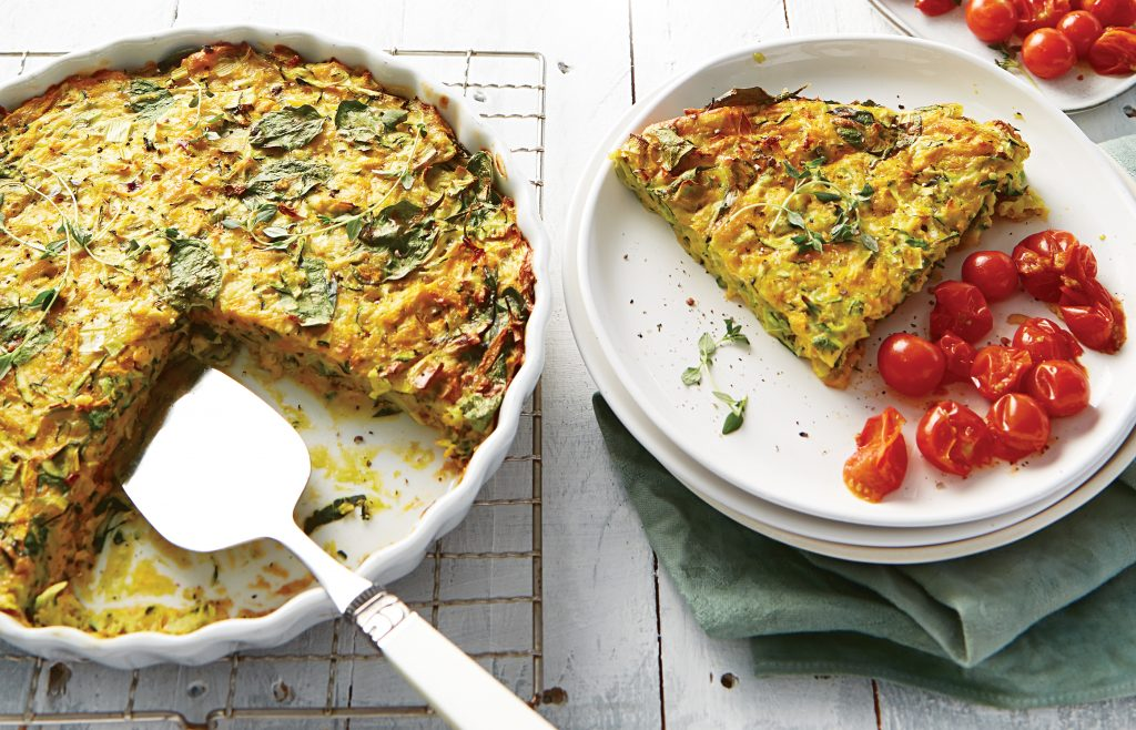 Cheesy courgette and pumpkin slice