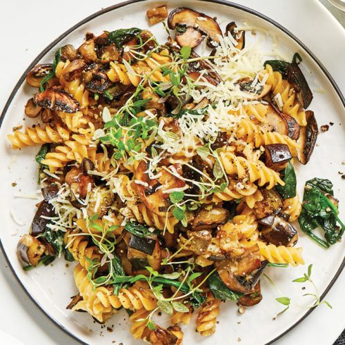 Cheesy mushroom and eggplant pasta