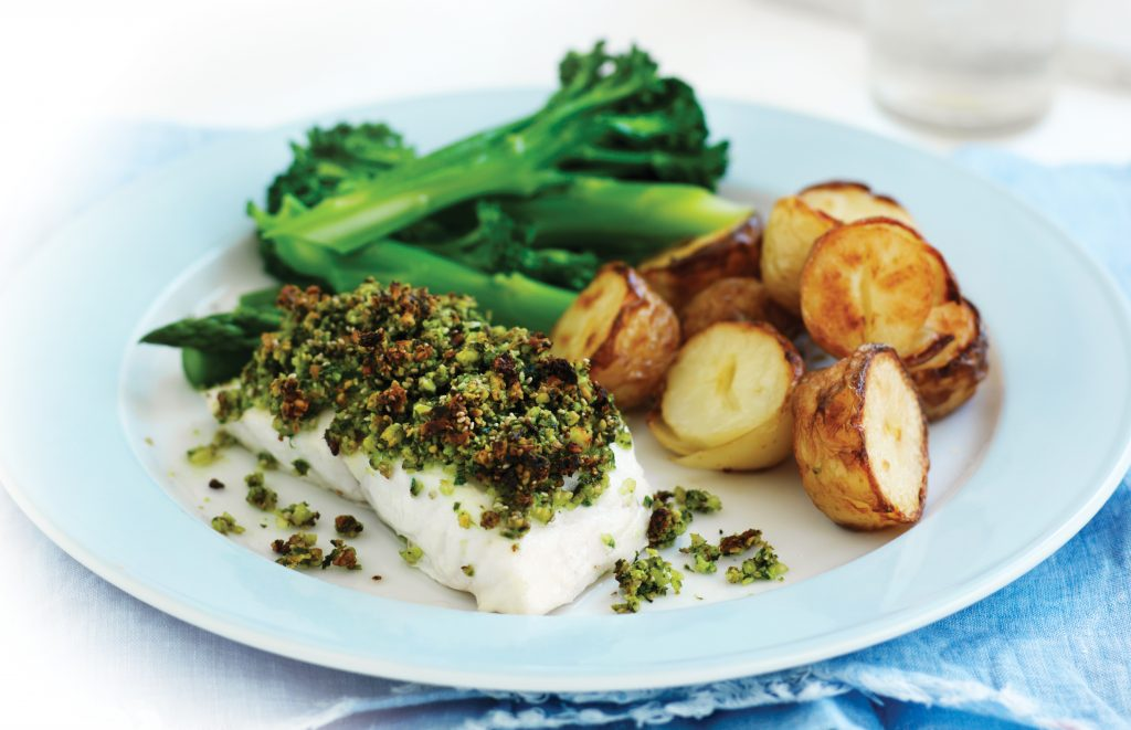 Chia, almond and herb-crusted fish