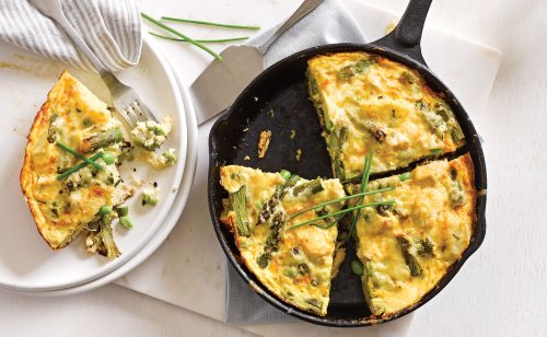 Chicken and asparagus frittata