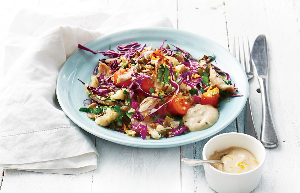 Chicken and roast vege salad with lemon chilli dressing