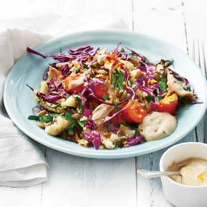 Chicken and roast vege salad with lemon chilli dressing