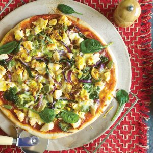 Chicken and three-cheese pizza