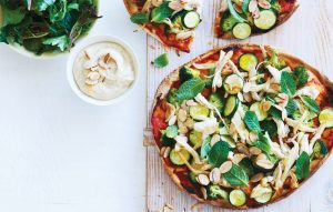 Chicken, courgette, mint and almond pizza