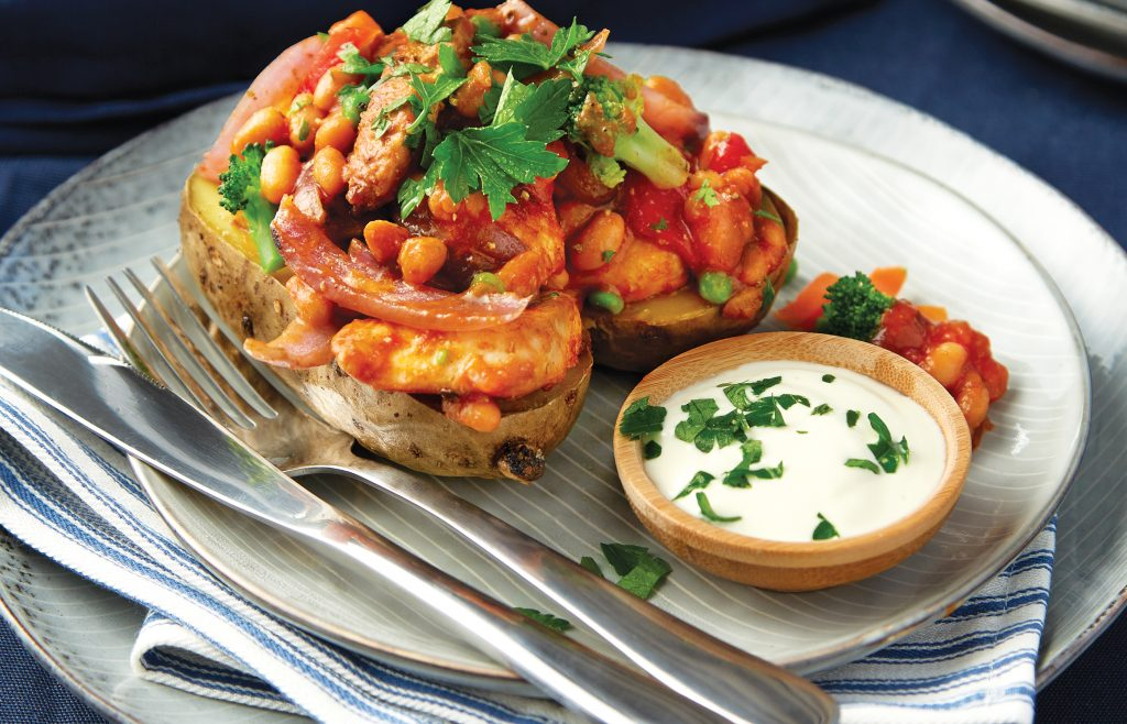 Chicken fajita stuffed potatoes