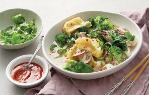 Chicken noodle and dumpling soup