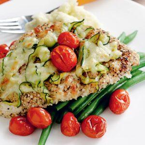 Chicken parmigiana with quinoa and chia